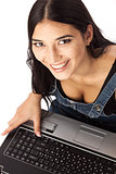 Top view of beautiful woman working on laptop
