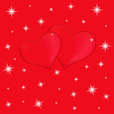 Two red hearts on a red background with stars