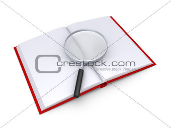 A magnifier is on top of an opened book