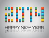 2014 New Year background with  coloful plastic blocks