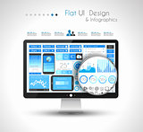 UI Flat Design Elements for WUI Flat Design Elements for Web, Infographics