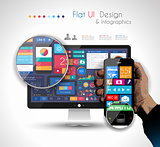 UI Flat Design Elements in a modern HD screen