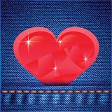 jeans background with heart