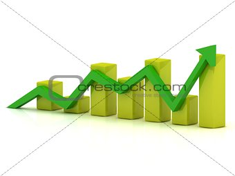 Business growth chart of the yellow bars and the green arrow