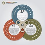 Color circles with 3 options, vector Infographics