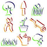 Set of garden icons.
