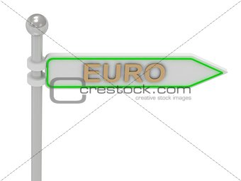 "3d rendering of sign with gold ""EURO"""