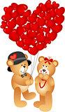 Teddy Bear Couple with Heart Shaped Balloons