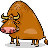 bull or buffalo cartoon illustration