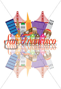 San Francisco Abstract Skyline Golden Gate Bridge Reflection