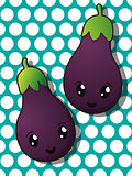 Kawaii eggplant icons