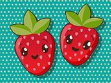 Kawaii strawberry icons