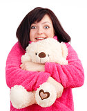 Young Woman in Pink Bathrobe Cuddling with her Teddy Bear