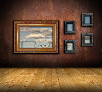abstract architectural backdrop with frames on wall