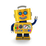 Happy vintage toy robot waving hello