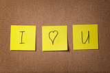 three reminder sticky notes i love you text