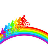Silhouette of a cyclist a rainbow male.  vector illustration.