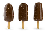 Chocolate ice-cream with nut on stick 3d illustration