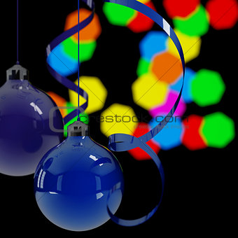 blue christmas balls and ribbons on a background lights in night