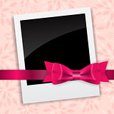 Valentine`s Day Photo Card with Bow and Ribbon Vector Illustrati