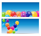 Color glossy balloons card background vector illustration