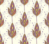 seamless pattern with abstract colorfull leaves