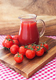 Tomato juice in glass jug