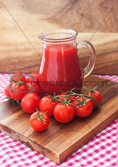 Tomato juice in glass jug