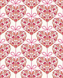 seamless pattern with floral colorful hearts