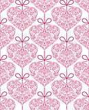seamless pattern with floral hearts