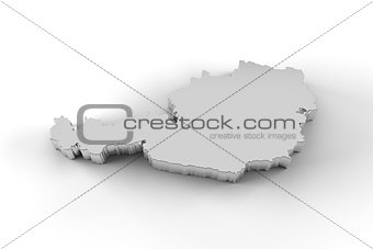 Austria map 3D silver with clipping path