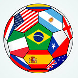 vector soccer with various flags - Brazil 2014