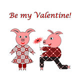 Love between two funny pigs. Valentine's day postcard with words