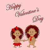"Funny boy and girl with words ""Happy Valentine's Day"""