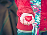 Heart shape love symbol in woman hands Valentines Day romantic greeting people relationship concept winter holiday