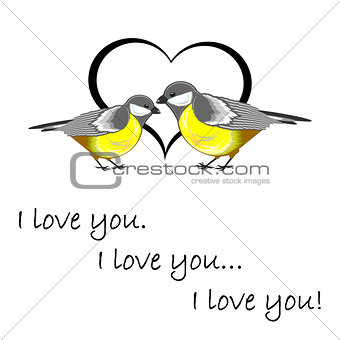 "A couple of cute titmice with a heart and words ""I love you"". Va"
