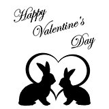 Monochrome silhouette of two rabbits and a heart. Valentine's da