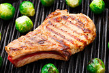Grilled pork chop with brussels sprouts