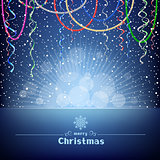 Christmas blue card with beads ribbons and light