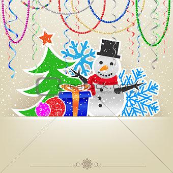 Christmas cartoon card snow and bauble