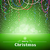 Christmas green card with ribbons light and snow around