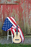 guitar with American flag