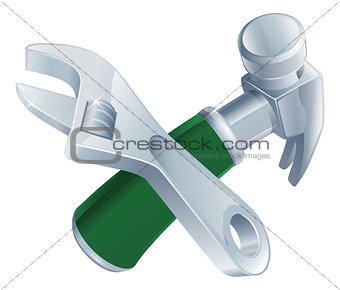 Crossed spanner and hammer tools