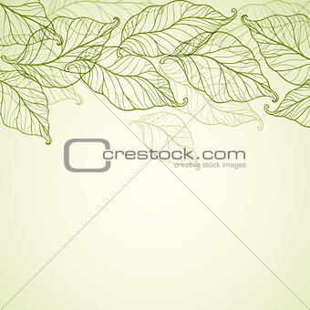 Background with falling green leaves