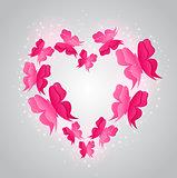 Heart and pink  butterflies