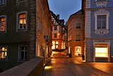 Illuminated street of gerrman town Bamberg.