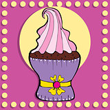 Simple figure cupcake in vintage style