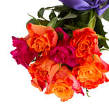 bouquet of  orange and pink roses close up