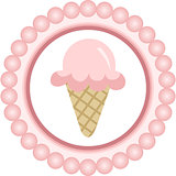 Pink Ice Cream Cone Round Label