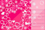 Pink Valentine Card with Heart Silhouettes